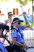 Female drummer in the Western Australian Police Band. 2009 Guildford Heritage Festival, Western Australia