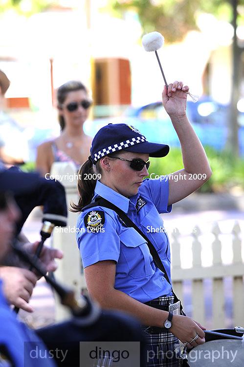 Female drummer in the Western Australian Police Band. 2009 Guildford Heritage Festival, Western Australia