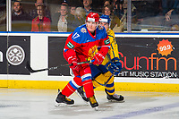 KELOWNA, BC - DECEMBER 18:  Samuel Fagemo #11 of Team Sweden stick checks Ivan Morozov #17 of Team Russia at Prospera Place on December 18, 2018 in Kelowna, Canada. (Photo by Marissa Baecker/Getty Images)***Local Caption***