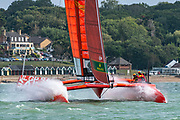 SailGP Team China rounding the top mark in race two. Race Day. Event 4 Season 1 SailGP event in Cowes, Isle of Wight, England, United Kingdom. 11 August 2019: Photo Chris Cameron for SailGP. Handout image supplied by SailGP