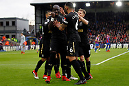 Mohamed Diame of Newcastle United (l) celebrates with his team mates after he scores his team's first goal. his team's first goal. Premier League match, Crystal Palace v Newcastle Uutd at Selhurst Park in London on Sunday 4th February 2018. pic by Steffan Bowen, Andrew Orchard sports photography.