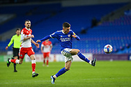 Cardiff City's Harry Wilson (23) crosses into the box during the EFL Sky Bet Championship match between Cardiff City and Millwall at the Cardiff City Stadium, Cardiff, Wales on 30 January 2021.
