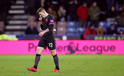 """Everton's Lucas Digne reacts after being sent off during the Premier League match at the John Smith's Stadium, Huddersfield. PRESS ASSOCIATION Photo. Picture date: Tuesday January 29, 2019. See PA story SOCCER Huddersfield. Photo credit should read: Nigel French/PA Wire. RESTRICTIONS: EDITORIAL USE ONLY No use with unauthorised audio, video, data, fixture lists, club/league logos or """"live"""" services. Online in-match use limited to 120 images, no video emulation. No use in betting, games or single club/league/player publications"""