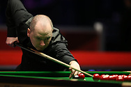 Graeme Dott of Scotland during his 2nd round match against Ronnie O'Sullivan of England. ManBetx Welsh Open Snooker 2018, day three at the Motorpoint Arena in Cardiff, South Wales on Wednesday 28th February 2018.<br /> pic by Andrew Orchard, Andrew Orchard sports photography.