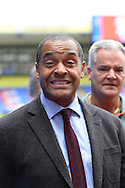 Club Ambassador and football pundit Mark Bright smiles at the camera before k/o. Barclays Premier league match, Crystal Palace v Arsenal at  Selhurst Park in London on Sunday 16th August 2015.<br /> pic by John Patrick Fletcher, Andrew Orchard sports photography.