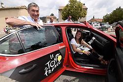 July 21, 2017 - Embrun / Salon-De-Provence, France - SALON-DE-PROVENCE, FRANCE - JULY 21 : Christian Prudhomme, Justine Henin, Eddy Merckx  during stage 19 of the 104th edition of the 2017 Tour de France cycling race, a stage of 222.5 kms between Embrun and Salon-De-Provence on July 21, 2017 in Salon-De-Provence, France, 21/07/17 (Credit Image: © Panoramic via ZUMA Press)