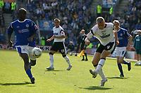 Photo: Steve Bond.<br />Leicester City v Derby County. Coca Cola Championship. 06/04/2007. JAmes McEveley (R) crosses for Derby
