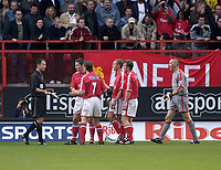 Photo. Glyn Thomas<br />Charlton Athletc v Liverpool. Barclaycard Premiership.<br />The Valley, Charlton. 28/09/2003.<br />Charlton players dispute the controversial penalty awarded to Liverpool with referee Robbie Styles.