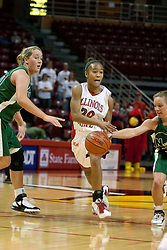 13 November 2005: Mandi Schumacher forces Tiffany Hudson to change directions and Tiffany looses control of the ball.  With a final score was 93-58, the Illinois State University Redbirds overcome the Bearcats of Northwest Missouri State in an exhibition match up Sunday afternoon at Redbird Arena in Normal Illinois.  The final score was 93-58.