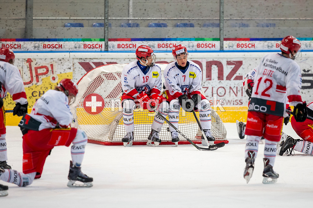 Rapperswil-Jona Lakers forwards Gian Leuenberger (#18), Andreas Tschudi (#7) and their teammates react after a 3-1 defeat in the fifth and final Elite A /B league qualification ice hockey game between HC Ambri-Piotta and Rapperswil-Jona Lakers in Ambri, Switzerland, Saturday, March 31, 2018. (Photo by Patrick B. Kraemer / MAGICPBK)