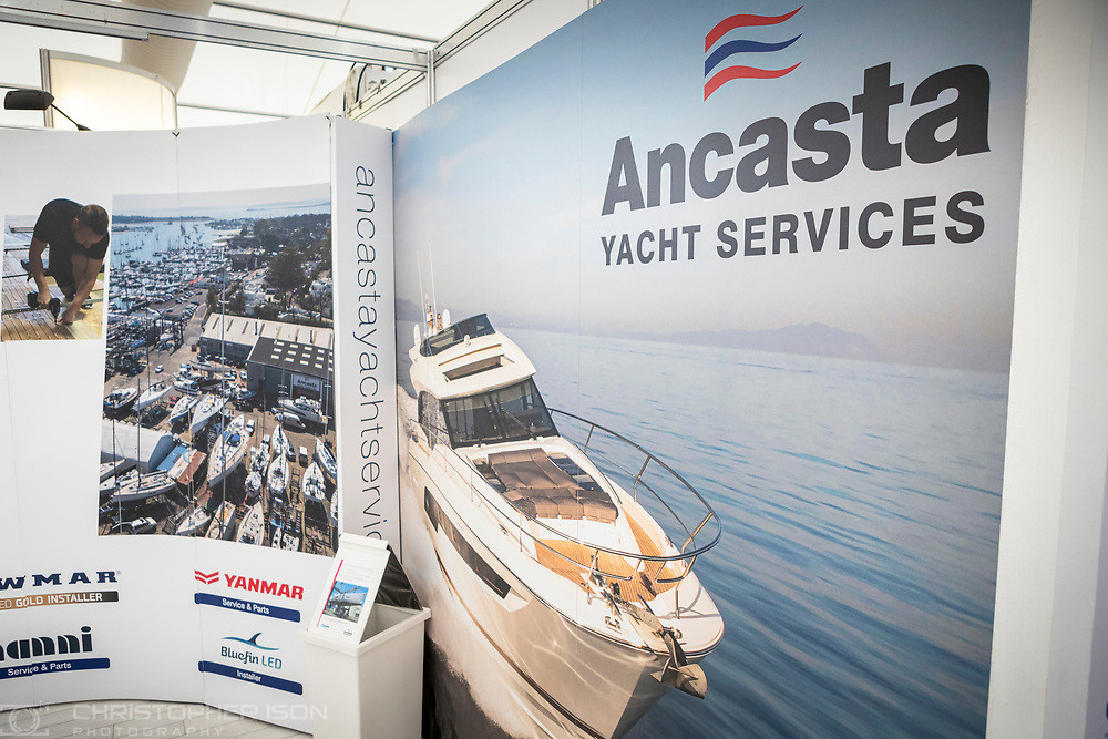 Ancaster Yacht Services (formerly Hamble Yacht Services) at the Southampton International Boat Show.<br /> Shot for Ancasta International.<br /> Picture date: Friday September 10, 2021.<br /> Photograph by Christopher Ison ©<br /> 07544044177<br /> chris@christopherison.com<br /> www.christopherison.com<br /> <br /> IMPORTANT NOTE REGARDING IMAGE LICENCING FOR THIS PHOTOGRAPH: This image is supplied to the client under the terms previously agree. No sales are permitted unless expressly agreed in writing by the photographer.