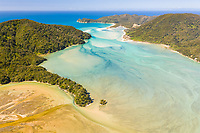 Aerial view of Takapou Bay during the daylight, New Zealand.