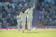 Joe Root and and Moeen Ali of England celebrate the wicket of Mohammed Shami of India during the fourth day of the 4th SpecSavers International Test Match 2018 match between England and India at the Ageas Bowl, Southampton, United Kingdom on 2 September 2018.