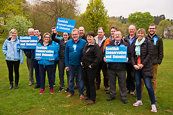 Pictured: Ruth Davidson and David Mundell are joined by local councillors and supporters.<br /> <br /> Scottish Tory leader Ruth Davidson and Scottish Secretary David Mundell took to the campaign trail in West Linton today.<br /> <br /> Ger Harley | EEm 13 May 2017