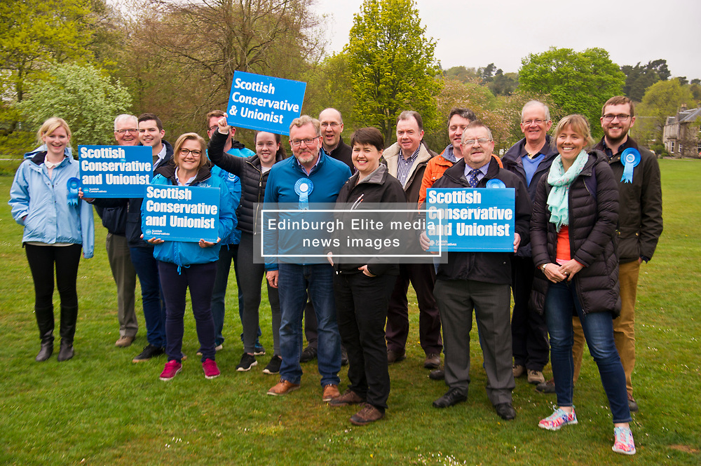 Pictured: Ruth Davidson and David Mundell are joined by local councillors and supporters.<br /> <br /> Scottish Tory leader Ruth Davidson and Scottish Secretary David Mundell took to the campaign trail in West Linton today.<br /> <br /> Ger Harley   EEm 13 May 2017