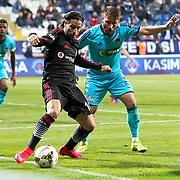 Besiktas's Olcay Sahan (L) during their Turkish Superleague soccer match Kasimpasa SK between Besiktas at the Recep Tayyip Erdogan stadium in Istanbul Turkey on Saturday 18 April 2015. Photo by Aykut AKICI/TURKPIX