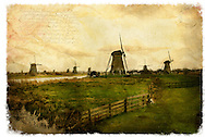 Kinderdijk, The Netherlands - Forgotten Postcard digital art European Travel collage