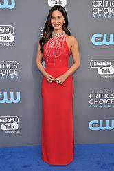 Olivia Munn at The 23rd Annual Critics' Choice Awards held at the Barker Hangar on January 11, 2018 in Santa Monica, CA, USA (Photo by Sthanlee B. Mirador/Sipa USA)