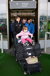 Slovenian ski jumper Peter Prevc with his sister Nika  at arrival to Airport Joze Pucnik from Vancouver after Winter Olympic games 2010, on February 24, 2010 in Brnik, Slovenia. (Photo by Vid Ponikvar / Sportida)