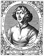 Nicolas Copernicus (1473-1543) Polish astronomer who in 1543 published 'De revolutionibus orbium coelestium' in which he put forward proof of a heliocentric (sun-centred) universe. Copperplate engraving by de Bry, 1645.
