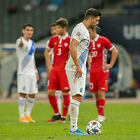 ATHENS, GREECE - OCTOBER 11: Tasos Bakasetasof Greece prepares for a penalty kick during the UEFA Nations League group stage match between Greece and Moldova at OACA Spyros Louis on October 11, 2020 in Athens, Greece. (Photo by MB Media)