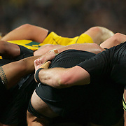The New Zealand and Australian scrum packs down during the New Zealand V Australia Semi Final match at the IRB Rugby World Cup tournament, Eden Park, Auckland, New Zealand, 16th October 2011. Photo Tim Clayton...