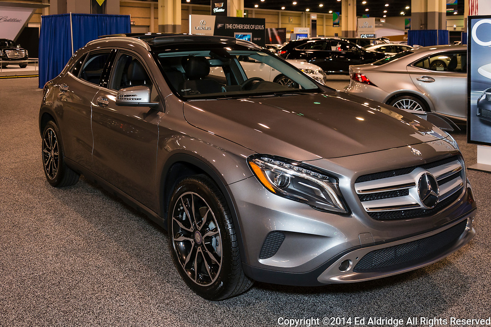 CHARLOTTE, NORTH CAROLINA - NOVEMBER 20, 2014: Mercedes GLA250 4Matic SUV on display during the 2014 Charlotte International Auto Show at the Charlotte Convention Center.