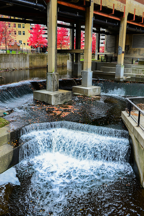 Waterfalls from the Ohio-Erie Canal at Lock 4 park.