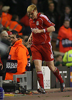 Photo: Paul Thomas.<br /> Liverpool v Bordeaux. UEFA Champions League, Group C. 31/10/2006.<br /> <br /> John Arne Riise of Liverpool leaves the field for treatment after being hit.