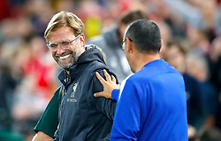 Liverpool manager Jurgen Klopp (left) and Chelsea manager Maurizio Sarri ahead of the Carabao Cup, Third Round match at Anfield, Liverpool.