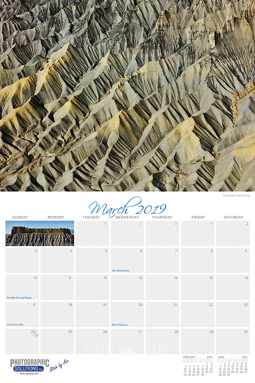 """The 2019 Utah by Air Calendar is a 28 page, 9x12"""" wall calendar. It features our stunning aerial photography of the unique and beautiful landscapes of Utah. The calendar has a heavy-weight coated cover and smooth, full-color pages with a different photograph for each month of the year. This calendar is custom designed by us and will enhance the decor of any office or home. Get one for you and all your friends! The perfect Christmas gift reminds people of the beauty of the Utah landscape all year long.<br /> Calendar will start shipping in November."""