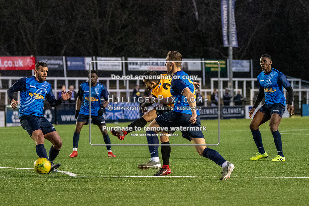 BROMLEY, UK - JANUARY 04: Barney Williams, of Cray Wanderers FC, shoots from the edge of the box during the BetVictor Isthmian Premier League match between Cray Wanderers and Wingate & Finchley at Hayes Lane on January 4, 2020 in Bromley, UK. <br /> (Photo: Jon Hilliger)