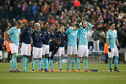 15-03-2016 ESP, UEFA CL, Atletico Madrid - PSV Eindhoven, Madrid<br /> PSV Eindhoven's players // during the UEFA Champions League Round of 16, 2nd Leg match between Atletico Madrid and PSV Eindhoven at the Estadio Vicente Calderon in Madrid, Spain on 2016/03/15. <br /> <br /> ***NETHERLANDS ONLY***