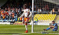 Blackpool's Armand Gnanduillet celebrates scoring his side's first goal <br /> <br /> Photographer Alex Dodd/CameraSport<br /> <br /> The EFL Sky Bet League One - Peterborough United v Blackpool - Saturday 29 September 2018 - London Road Stadium - Peterborough<br /> <br /> World Copyright © 2018 CameraSport. All rights reserved. 43 Linden Ave. Countesthorpe. Leicester. England. LE8 5PG - Tel: +44 (0) 116 277 4147 - admin@camerasport.com - www.camerasport.com