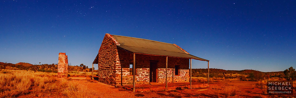 The old police station at Arltunga, taken by moonlight at full moon. Arltunga is a an old derelict mining settlement in the Northern Territory.<br /> <br /> Limited Edition of 125 Prints