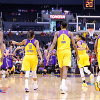 18 May 2014: Los Angeles Sparks center Jantel Lavender (42), Los Angeles Sparks guard Lindsey Harding (10), Los Angeles Sparks forward/center Sandrine Gruda (7), Los Angeles Sparks guard/forward Armintie Herrington (22), Los Angeles Sparks guard/forward Alana Beard (0) are seen during the Phoenix Mercury 74-69 victory over the Los Angeles Sparks, at the Staples Center, Los Angeles, California, USA.