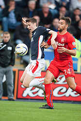 Falkirk's Conor McGrandles and Rangers Derek McGregor. Falkirk 0 v 2 Rangers, Scottish Championship game played 15/8/2014 at The Falkirk Stadium.
