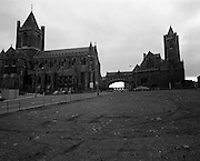 Views of Old Dublin 14/02/1976.02.14.1976.14th February 1976  Picture of Dublin's Christchurch Cathedral. Founded in 1028 it is one of the city's most famous landmarks. It houses one of the largest medieval crypts in Britain & Ireland.