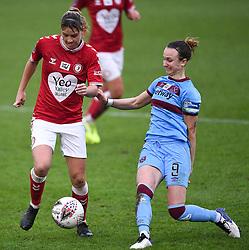 Gemma Evans of Bristol City Women is challenged by Martha Thomas of West Ham United Women - Mandatory by-line: Ryan Hiscott/JMP - 13/12/2020 - FOOTBALL - Twerton Park - Bath, England - Bristol City Women v West Ham United Women - Barclays FA Women's Super League