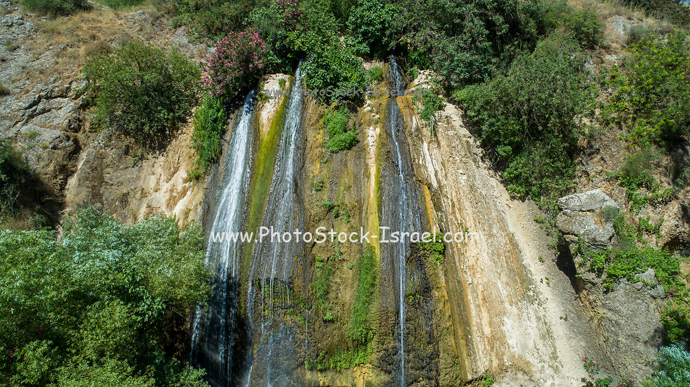 Aerial Photography of the Banias Stream (Banias River or Hermon River) Golan Heights, Israel