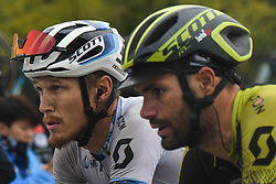 October 20, 2018 - Guilin, China - Matteo Trentin (Left) of Italy chat with his team-mate Luka Mezgec of Slovenia, who crashed during the last metres of the fifth stage, 212.2km from Liuzhou to Guilin, of the 2nd Cycling Tour de Guangxi 2018. .On Saturday, October 20, 2018, in, Guilin, China. (Credit Image: © Artur Widak/NurPhoto via ZUMA Press)