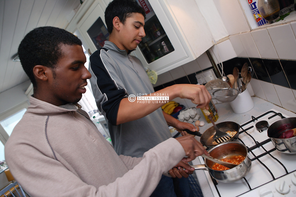 Youths preparing a meal,