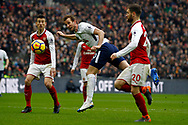 Harry Kane of Tottenham Hotspur © heads a chance at goal but heads just wide. Premier league match, Tottenham Hotspur v Arsenal at Wembley Stadium in London on Saturday 10th February 2018.<br /> pic by Steffan Bowen, Andrew Orchard sports photography.
