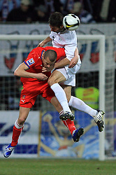 Vaclav Sverkos of Czech Republic vs Bostjan Cesar of Slovenia at the 8th day qualification game of 2010 FIFA WORLD CUP SOUTH AFRICA in Group 3 between Slovenia and Czech Republic at Stadion Ljudski vrt, on March 28, 2008, in Maribor, Slovenia. Slovenia vs Czech Republic 0 : 0. (Photo by Vid Ponikvar / Sportida)
