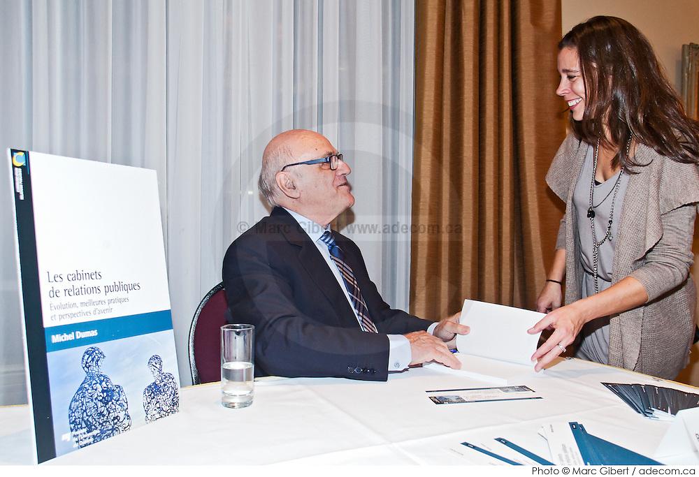"""Lancement livre de Michel Dumas : LES CABINETS DE RELATIONS PUBLIQUES""""    à  Club St-James de Montréal / Montreal / Canada / 2014-10-15, Photo © Marc Gibert / adecom.ca"""