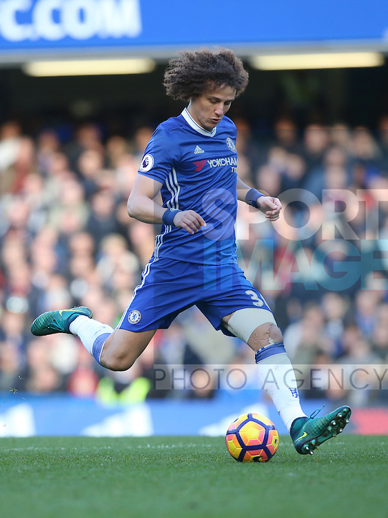 Chelsea's David Luiz in action during the Premier League match at Stamford Bridge Stadium, London. Picture date December 11th, 2016 Pic David Klein/Sportimage