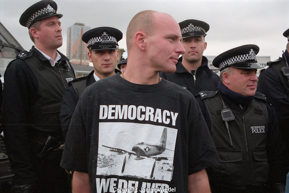 protester at demonstration against arm trade fair at the Excel centre in east London.