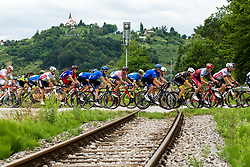 Cyclists crossing railroad and the church in the background during 2nd Stage of 25th Tour de Slovenie 2018 cycling race between Maribor and Rogaska Slatina (152,7 km), on June 14, 2018 in  Slovenia. Photo by Vid Ponikvar / Sportida