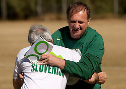 Branko Vekic of Sportske novosti vs Ivan Simic of NZS during friendly match between Slovenian football journalists and officials of Slovenian football federation at  Hyde Park High School Stadium on June 16, 2010 in Johannesburg, South Africa.  (Photo by Vid Ponikvar / Sportida)