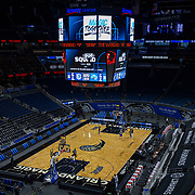 ORLANDO, FL - MARCH 01: Orlando Magic and Dallas Mavericks players warm up prior to their game at Amway Center on March 1, 2021 in Orlando, Florida. NOTE TO USER: User expressly acknowledges and agrees that, by downloading and or using this photograph, User is consenting to the terms and conditions of the Getty Images License Agreement. (Photo by Alex Menendez/Getty Images)*** Local Caption ***